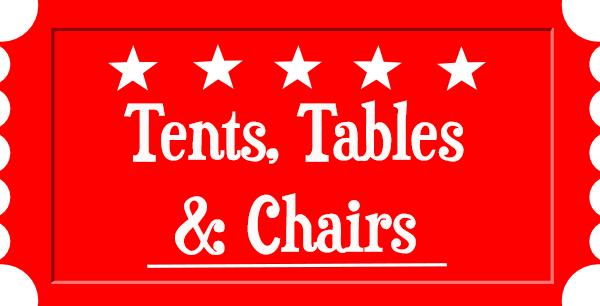 tent rentals, table rentals, chairs