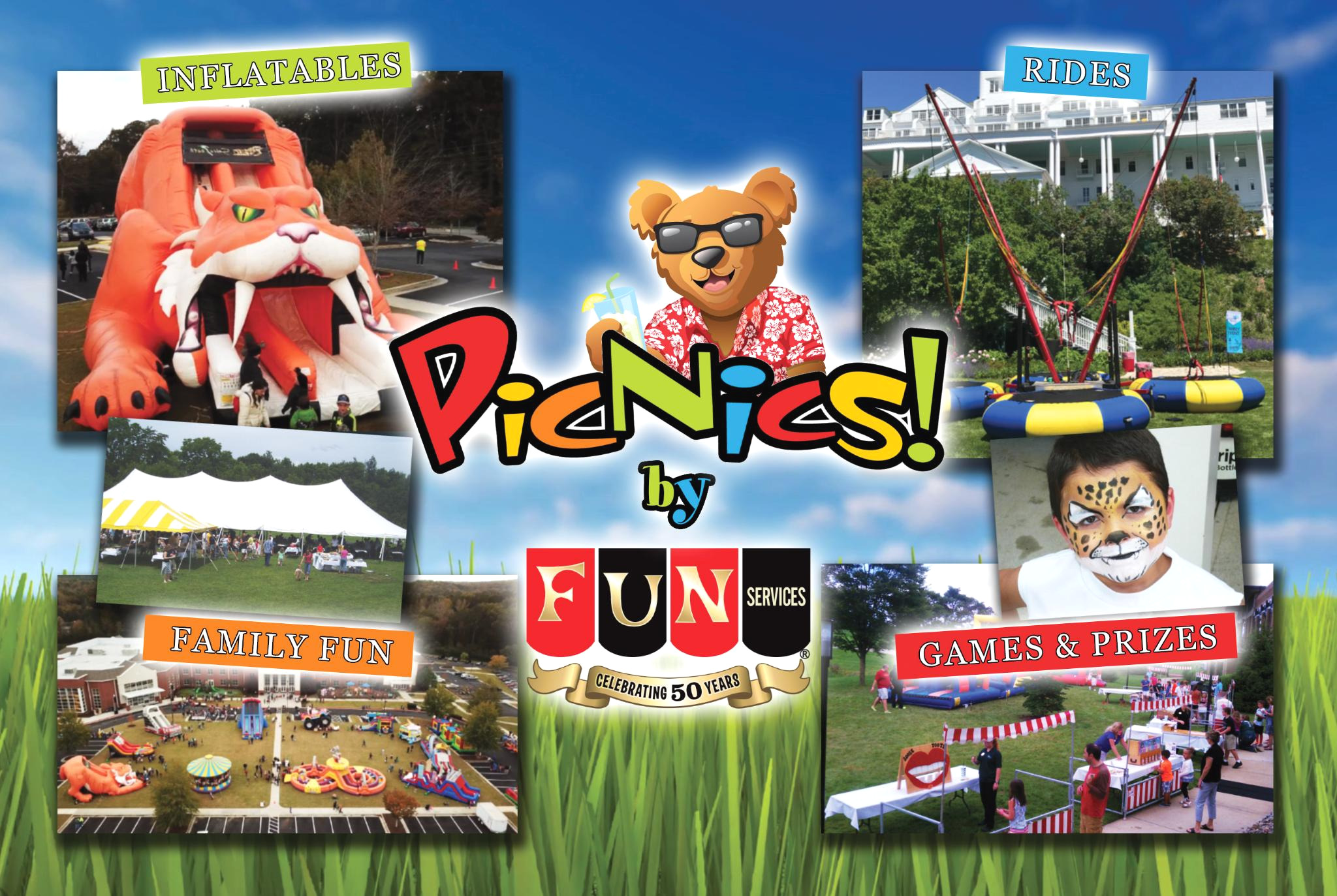 company picnics, family fun, inflatables, rides, corporate events