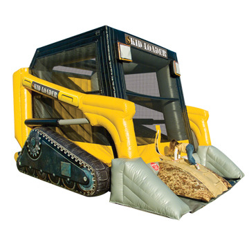 skid loader bounce house, construction inflatable moonwalk