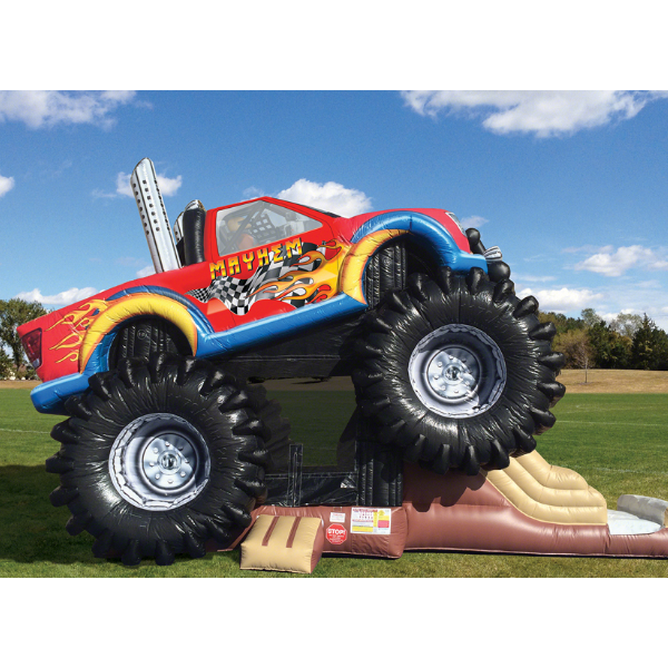 monster truck inflatable combo unit, truck bounce house