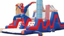 spiderman inflatable obstacle course