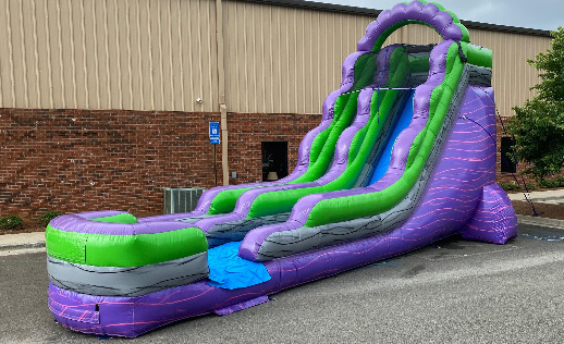 purple marble inflatable waterslide rental