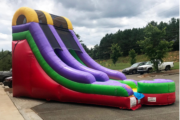 retro rainbow wet dry waterslide rental