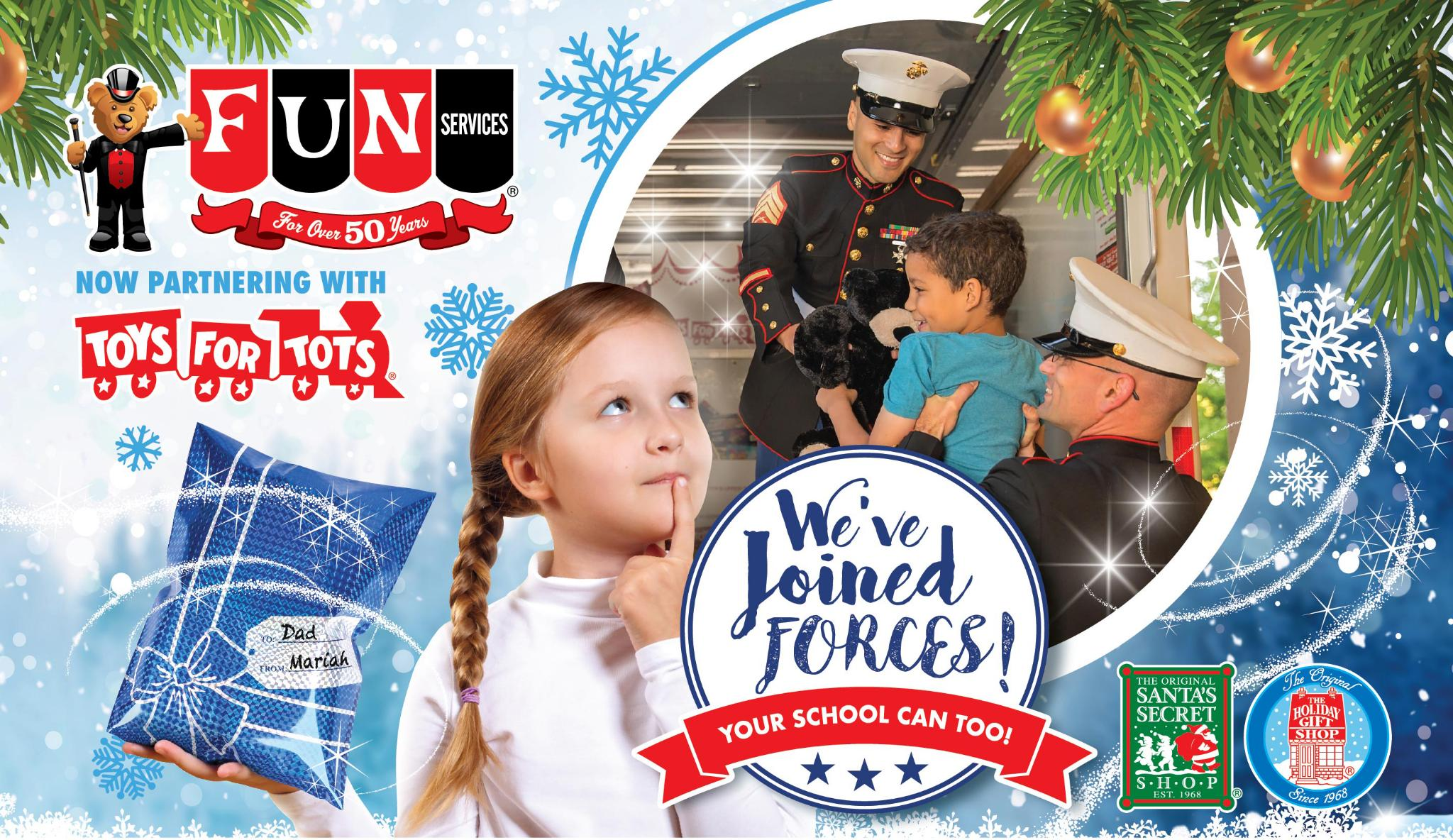 Fun Services Holiday Gift Shop now partnering with Toys for Tots