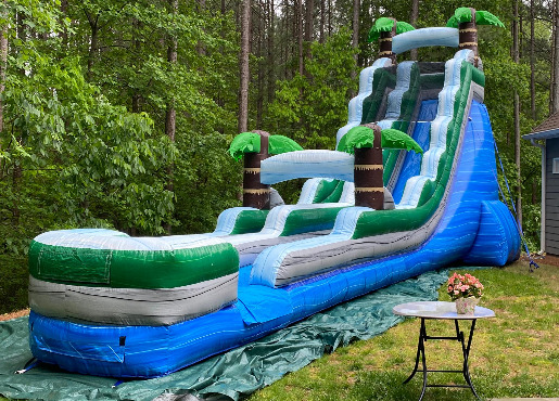 tropical blue inflatable waterslide